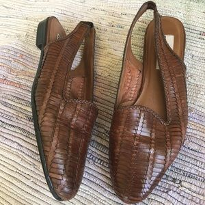 Vintage Trotters Shoes Womens 10 Leather Woven